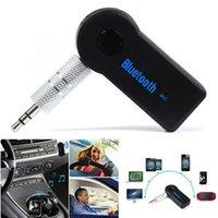 ücretsiz kutu mp3 toptan satış-Ücretsiz Kargo Evrensel 3.5mm Bluetooth Araç Kiti A2DP Kablosuz AUX Ses Müzik Alıcısı Adaptörü Telefon MP3 Perakende Kutusu Için Mic ile Handsfree
