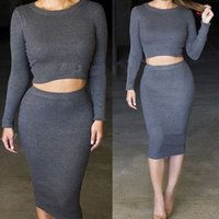 Wholesale Plus Sexy Black Sweater - Plus Size Two Pieces Outfits Women Winter Dresses 2016 Long Sleeve Bodycon O-neck 2 Piece Knitted Sweater Women Dress