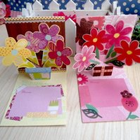 Wholesale Greeting Cards Supplies - The new Mini 3D greeting card 16 patterns mixed birthday card party supplies thank you card with envelope