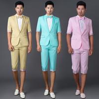 Wholesale Mens Short Pant - 3pcs Mens Short Sleeve Blazer Jacket Suit Coat+ Mid Long Pant Bowknot Nightclub ZLL7097