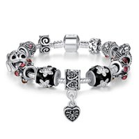 Wholesale Hanging Charms Pandora - Hot style Fine Tibetan antique silver Beads Bracelet heart-shaped hanging jewelry Pandora Charms Glass Beads DIY Beaded Strands Bracelet