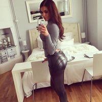 модные новые женские тонкие гетры оптовых-Новый модный осень женщин байкер Skinny кожаные брюки брюки поножи черные тонкие моды женщин длинные брюки S - XL