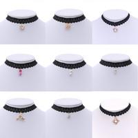 Wholesale Vintage Diamond Choker Necklace - Choker Necklace Pandents Statement Black Velvet Pearl Necklace Choker Jewelry Cheap Vintage Lace Gothic Rhinestone Diamond Chokers Necklaces
