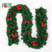 Wholesale merry christmas wreath - 2016 Home Decoration Hanging Wall Door Mounted Christmas Garland pine garland merry tree decoration strip decoration garland free shipping