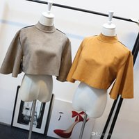 Wholesale Novelty Bells - 2016 New AA style women's turtleneck suede leather flare sleeve loose short high waist crop top shirt sexy poncho tops
