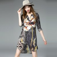 Wholesale Chinese Ink Paintings Lotus - 2016 new spring and summer chinese ink painted skirt style lotus sleeve V-neck loose luxury women dress