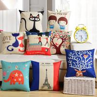 decoracion de almohadas al por mayor-Throw Pillow Cartoon Cotton Linen Pillow Sofá Silla Cojín del coche Almohada Moda Oficina Dormitorio Decorar Almohadas + Pillow Core WX-P09