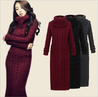 Wholesale Korea Japan Long Dress - South Korea autumn and winter women's high-neck long Sweaters twist sweater dress thickening Slim knitting hair long skirt 1257
