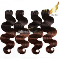 Wholesale dip color hair resale online - Brazilian Body Wave Hair Extensions Tone Ombre Weaves T B Color Human Hair Weaves Weft Dip Dye Ombre Hair Bella Hair