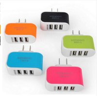Wholesale Portable Charger Ac Power - New arrival universal travel wall portable charger 3 in 1 USB ports AC quick power adapter