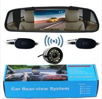 "Wholesale Wireless Parking Camera Rearview Mirror - Wireless Car Rearview Parking System 4.3"" LCD Mirror Monitor Backup Camera 28mm"