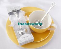 Wholesale Tea Strainer Wedding Favors - New Arrivel Tea Time Heart Tea Infuser Spoon With White Gift Box Tea Strainers Wedding Favors Free Shipping