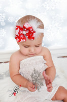 Wholesale Head Bands Kids Feather - 2016 new Christmas baby headbands boutique feather hair band kids Girls Lovely Cute hair accessories handmade flower bows head bands 040