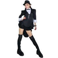 Wholesale Dance Wearing - Wholesale-2016 Free Shipping Sexy New Women Modern Autumn Winter Dance Wear Jazz Dance Costume For Nightclub Bar Lady Tuxedo Suits Girls