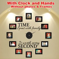 """Wholesale Material Clock - Wholesale-Wall Clock DIY Modern Design With Clock and Hands """"Time Spent With Family"""" Creatively Acrylic&Vinyl Material Home"""