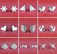 Wholesale Ear Jewelry Women - 925 Sterling Silver Earrings S925 Mix Styles Owl Love Fox Sunflower Star Shell Heart Butterfly Anchors Ear Stud Earrings Jewelry for Women