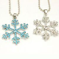 Wholesale Kids Rhinestone Pendants - Rhinestone Snowflake Pendant statement Necklace Crystal Cartoon Necklace For Children Kids Movie Jewelry High Quality