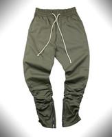 Wholesale Swag Beads - Justin bieber brand style side zipper men slim fit casual mens hip hop jogger biker pants swag sweatpants skinny trousers olive