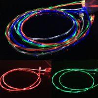 ingrosso cavo di caricamento leggero visibile-Flowing Moving Glow Led Cable visibile Light-up lampeggiante 1M 3FT USB Data Sync Cavo del caricabatterie per Samsung S7 bordo S6 HTC M9 Blackberry