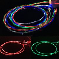 Flowing Moving Glow Led Cable Visible Light-up Clignotant 1M 3FT USB Data Sync Chargeur câble pour Samsung S7 S6 bord HTC M9 Blackberry