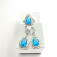 Wholesale blue topaz white gold necklace - Water Drop sky blue 925 Sterling Silver Women Jewelry Sets White Topaz Surrounded Earrings Rings Free Box