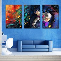 Wholesale Wall Art Triptych - Hot Sell 3 Piece Canvas Modern Triptych Wall Painting Howl's Moving Castle Home Decorative Art Picture Paint on Canvas Prints 24in*16in *3pc