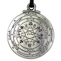 wiccan schmuck halsketten großhandel-Punk Amulett Anhänger Halskette Talisman Pentagramm von Solomon Seal Anhänger Halskette Hermetiker Enochian Kabbalah Pagan Wiccan Schmuck heißer Verkauf