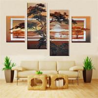 abstrakte gemälde für sonnenaufgang großhandel-Handmade 4 teile / satz Gemälde Auf Leinwand Kunst Ölgemälde Abstrakte Bilder Sonnenaufgang Wohnkultur Für Wohnzimmer