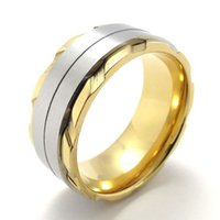 Wholesale Gold Ring Pops - 074643-Wholesale Fashion pop Men novel Gold Plate Stainless Steel Car tires Rotating ring Jewelry Best for you size:8-13