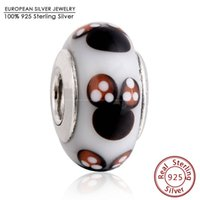 Wholesale Fine Core - 925 Sterling Silver Core Classic Mouse Murano Glass Charms Bead Fit Brand Bracelets Glass Bead Diy Charm Bracrlets Fine Jewelry