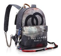Wholesale Plaid Canvas School Bag - High quality Fashion New Distress Graffiti Printed Women Men Canvas Backpack Embellished with Multicolored Ropes School Travel Bags