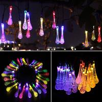 ev güç kaynakları toptan satış-LED Su Damlası Güneş Enerjili Işık Cadılar Bayramı Noel Süslemeleri 30 Işıkları Ev Açık Bahçe Veranda Parti Tatil Malzemeleri WX9-36