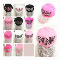 Wholesale Pink Pointer - PINK point drill cowboy baseball cap brand hat ladies drill pointer cowboy diamond CAPS male and female sun hat multi-color 200 PCS YYA563
