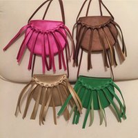 INSWholesale-KIKIKIDS 15pcs / lot Fashion Baby Girls Moeda bolsas bolsas de bolsas artesanais Handbags Girl Tassel Bag, KIKIKIDS Atacado