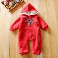 Wholesale Hooded Bear Suit - INS 6 colors new styles Hot sell girl autumn winter pure color bear head climbing suit High quality cotton romper free shipping