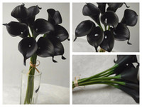 Wholesale Wholesale Calla Lily Silk Flowers - 10 Single Stem Real Touch Flowers Black Calla Lily Black Flowers Silk for Bridal Bouquet Wedding Home Decor