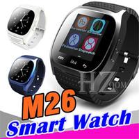 alarme de telefone celular perdido venda por atacado-M26 smartwatches smartwatch bluetooth com câmera de controle remoto anti-lost barômetro de alarme para android ios celular vs para dz09 q18 u8