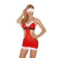 Wholesale Sexy Lingerie Apron Babydoll - Christmas Holiday White Fuzzy Trim Red Apron Babydoll with Panty and Eye Mask Set Women Sexy Santa Intimate Apparel Lingerie Sheer Sleepwear