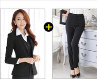 Wholesale Women Career Skirt Suits - 2016 spring and autumn new Professional women's Dress Suit Female uniform OL skirt career business suits free shipping