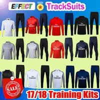 Wholesale Football Training Jackets - TOP QUALITY 17 18 NEYMAR JR jacket Training suit kits soccer Jersey VERRATTI CAVANI DI MARIA MATUIDI DRAXLER DANI ALVES football shirts