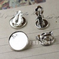 Wholesale Earring Tray Diy - Free Ship! 14mm Silver Plated Copper Blank Circle Tray Base Clip Stud Earrings 4 Diy Resin Cameo Cabs Jewelry Settings Wholesale