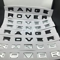 carro de prata fosco venda por atacado-Estilo do carro Para Range Rover Emblema Carta Emblema Brilho Ou Fosco Preto / Prata Capô Traseiro Tronco da Bagageira Emblema Etiqueta Placa de Identificação Decalque