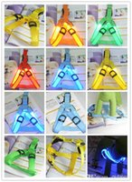 2015 7 HOT Couleurs Battery Operated fournitures de chien clignotant LED Harnais Collier Ceinture Chien Chat Safety Light Tether Colliers Pet par DHL 520