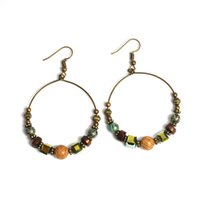 Wholesale Wooden Ethnic Earrings - Vintage Wooden Beads Hollow Metal Circle Drop Earring Ethnic Exaggerated Dangle Earrings For Women Boho Beach Holiday Jewelry