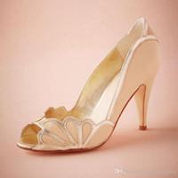 "Wholesale Leather Ballet Flats 12 - Blush Wedding Shoes Scallop Heel Peep Toe Bridal Sandal Pumps PU Leather 3"" Kitten Heels Stilettos Blue Bridal Shoe Slip-on Pumps For Women"