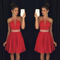 Wholesale Sexy Mini Dress Rhinestone - 2017 Red Sweet 16 Homecoming Dresses Halter Neck Vestido Formatura Curto Beaded Crystals Rhinestones Ruched Backless Short Prom Dresses