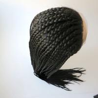 ingrosso parrucca nera in pizzo sintetico diritto-Moda intrecciatura parrucca anteriore in pizzo sintetico dritto nero 30inch resistente al calore capelli scatola grande donna parrucca trecce