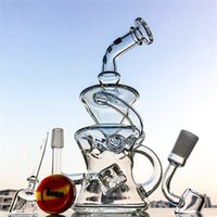 Wholesale Sale Eggs - Hot sale recycler glass bongs half fab egg oil dab rig 14.5mm joint glass water pipe with quartz banger+carb cap DGC12872