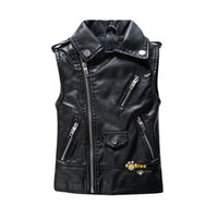 Wholesale 13 Years Kids Clothes - Spring and Autumn Children Outerwear WaistCoat Kids Clothes Baby Boy Girls Leather Vest Kids Zipper Gilet For 3-13 Years Old