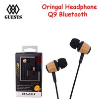 Wholesale Super Quality Headphones - Original AWEI Q9 Super Bass Wooden in Ear Headphones Earphones Headset Fone De Ouvido 3.5mm Jack for Any Smartphone High Quality